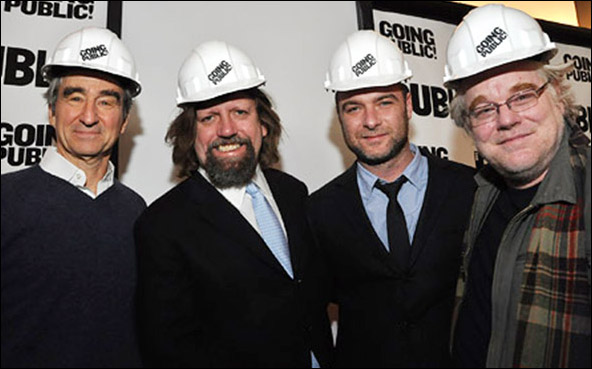 Sam Waterston, Oskar Eustis, Liev Schreiber and Philip Seymour Hoffman at The 2010 Public Theater Renovations Ground Breaking Ceremony.