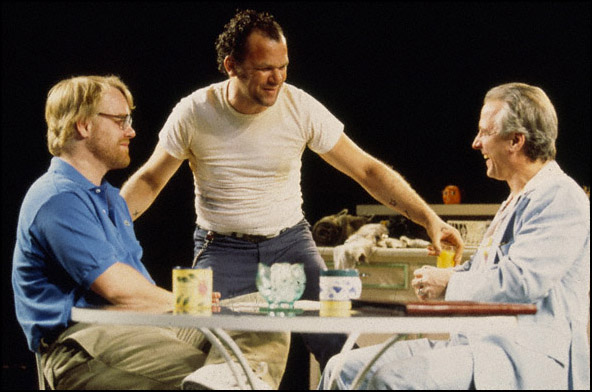 Philip Seymour Hoffman, John C. Reilly and Robert LuPone in the 2000 Broadway production True West.