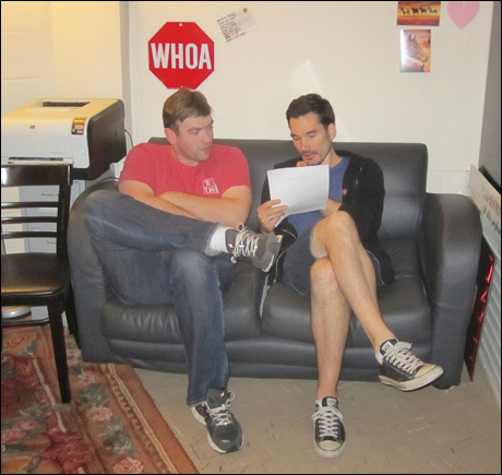 Geoff Murphy, our talented swing, discusses his track for tonight's show with stage manager Chris.