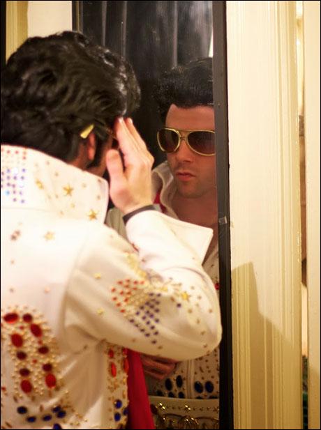 Grady prepares to get his Elvis on.