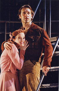 Christiane Noll as Hope Cladwell and Charlie Pollock Bobby Strong in <i>Urinetown, the Musical</i>.