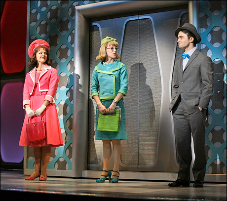Rose Hemingway, Mary Faber and Daniel Radcliffe in How to Succeed in Business Without Really Trying