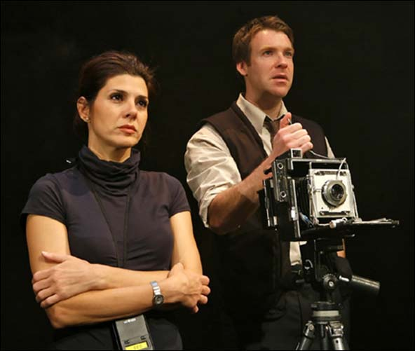 Marisa Tomei and Brian Hutchison in the 2007 Flea Theater production of Oh, The Humanity and other exclamations