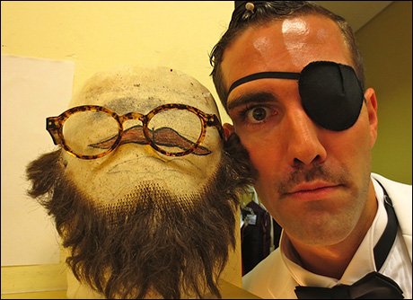 Timothy Hughes can't wait to change into his beard and spectacles combo!