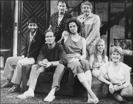 Ron Silver, William Hurt, Harvey Keitel, Sigourney Weaver, Jerry Stiller, Cynthia Nixon and Judith Ivey in Broadway's Hurlyburly, 1984