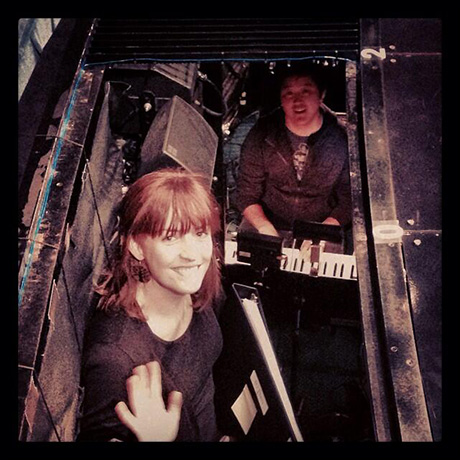 """@mrpagoo and @carmel_dean in their hole in the stage!"""