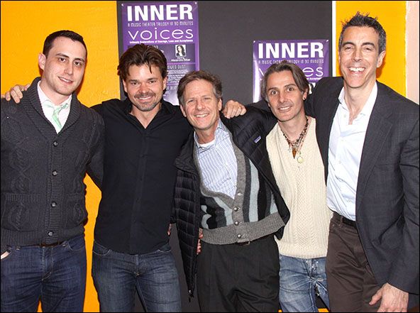 Paul Masse, Hunter Foster, Martin Moran, Jonathan Butterell and Joseph Thalken