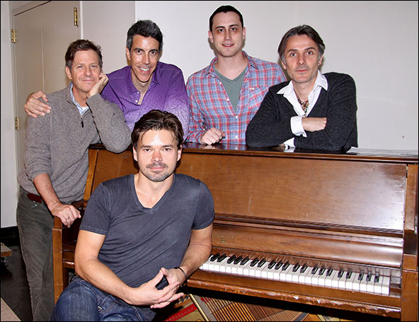 Hunter Foster, Martin Moran, Joseph Thalken, Paul Masse and Jonathan Butterell