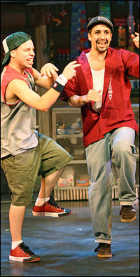 Robin de Jesus and Lin-Manuel Miranda in <i>In the Heights</i>.