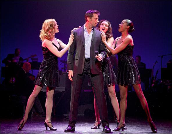 Hugh Jackman with Emily Tyra, Lara Seibert and Kearran Giovanni