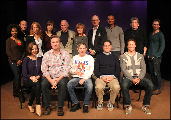 Top Row (L to R) Debra Walton, Andrew Boyer, Lauren Sterling, Julia Johanos, William Zeffiro, Anne Kanengiser, Walter Charles, Erick Pinnick, Frank Anderson, and Wilson Bridges.  Seated (L to R) Jessica Grové, Matt Castle (music director), Will Holt (comp
