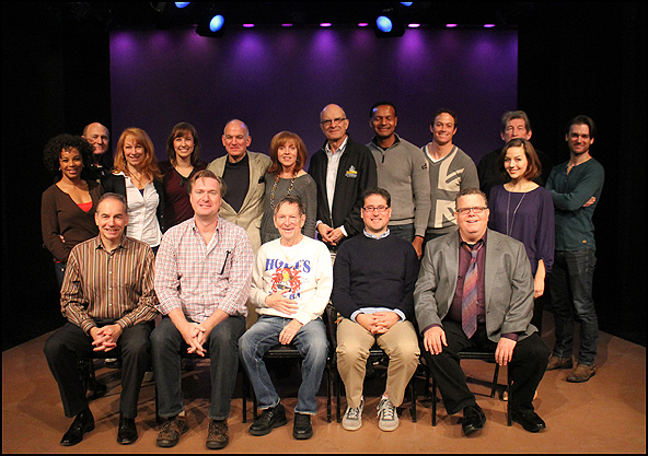 Top Row (L to R) Debra Walton, Andrew Boyer, Lauren Sterling, Julia Johanos, William Zeffiro, Anne Kanengiser, Walter Charles, Erick Pinnick, Patrick Cummings, Jessica Grové, Frank Anderson, Wilson Bridges.  Seated (L to R) Andrew Levine (Executive Direct