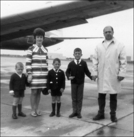 """Gregory Jbara: """"Mid sixties photo of my parents exposing us to the finer things in life.  I'm holding my father's hand.  Is it me, or am I tapping my inner David Niven?  Standing in first position, for crying out loud!"""""""