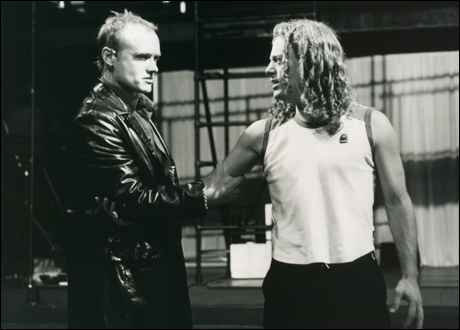 Jason Pebworth and Glenn Carter in rehearsal for the 2000 Broadway revival (Pebworth was replaced by Tony Vincent during previews)