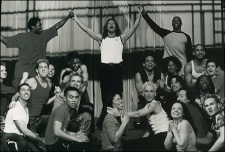 Glenn Carter and cast in rehearsal for the 2000 Broadway revival