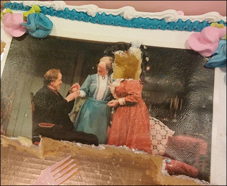 This is a cake with Peter Schmitz and our leading ladies, Jane Ridley and Mary Martello, on it. It was an opening night gift from our co-producers, the Fulton Theatre.