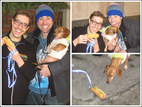 Some of the cast brought their pets on tour. Once we all arrive in Chicago, Ace and I take our hot dogs for a walk. That's right. No yah... you got the joke. It's an actual hot dog I'm walking. Just making sure you're all still paying attention.
