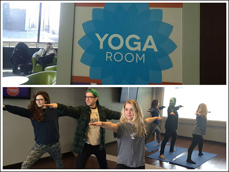 Unfortunately, our stay here has come to an end. Next stop is Tulsa, Oklahoma! At the airport, we find a yoga room and indulge in centering ourselves preflight. (With Lili Froehlich & Amanda Braun)