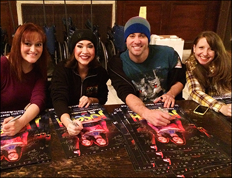 Broadway Cares Equity Fights Aids collection season is upon us. So we have to sign about 500 show posters. Here I caught castmates and local Cleve-ebrities Tricia Tanguy (left) and Katie Whetsell (right) along with our stars Ace Young and Diana DeGarmo.