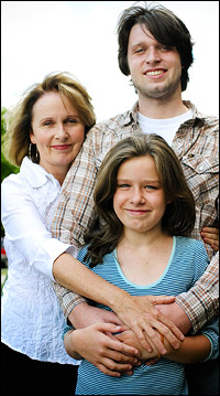 Kate Burton and her children Morgan and Charlotte Ritchie.
