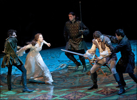 Mike Nadajewski, Kaylee Harwood, Lee Siegel, Jonathan Winsby and Julius Sermonia in Camelot