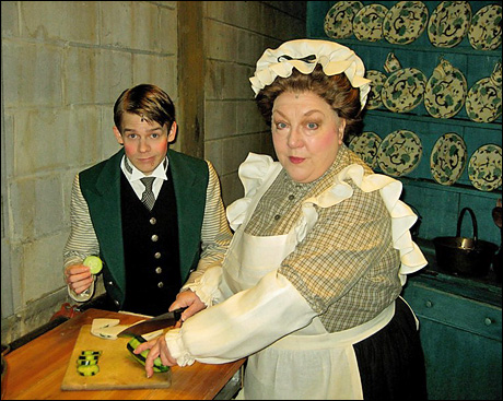 My scene partner, Mrs. Brill (Valerie Boyle), has taught me to always check my props before going on stage.