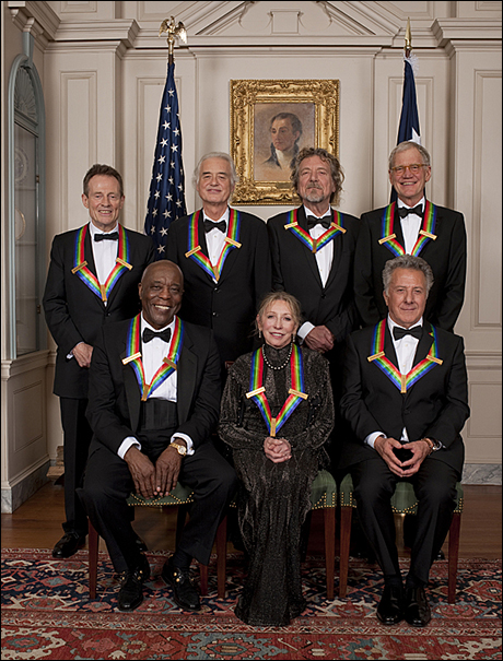 Front: Bluesman Buddy Guy, ballerina Natalia Makarova, actor Dustin HoffmanStanding: rock band Led Zeppelin and comedian and television host David Letterman