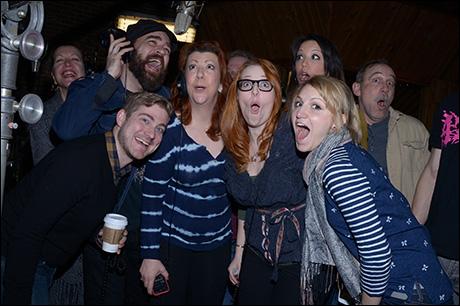 Adinah Alexander, Eric Anderson, Brian Usifer (Music Director), Jennifer Perry, Tory Ross, Annaleigh Ashford, Caroline Bowman (behind) and Stephen Berger