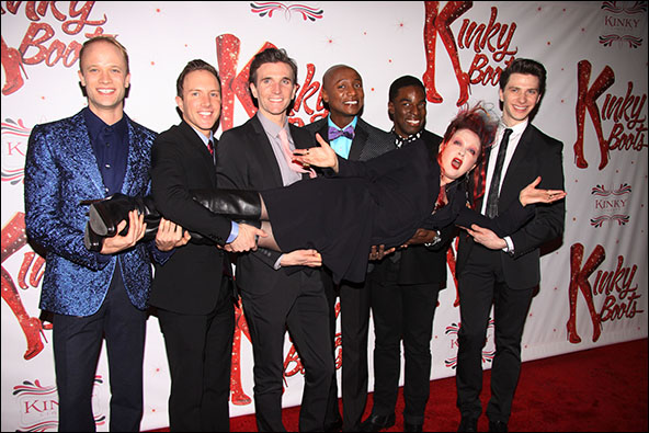 Cyndi Lauper with Kyle Post, Paul Canaan, Charlie Sutton, Kevin Smith Kirkwood, Kyle Taylor Parker and Joey Taranto