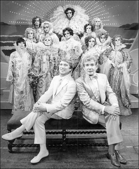George Hearn, Gene Barry and Les Cagelles in La Cage aux Folles