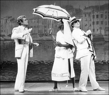 Gene Barry, William Thomas Jr. and George Hearn in La Cage aux Folles