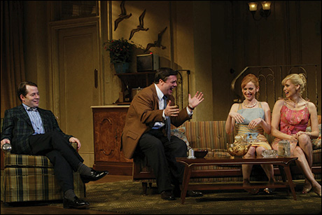 Matthew Broderick, Nathan Lane, Jessica Stone and Olivia d'Abo in The Odd Couple