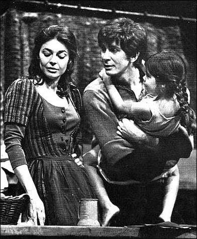 Anne Bancroft, Frank Langella and Jackie Paris in the 1968 Lincoln Center Theatre production A Cry of Players.