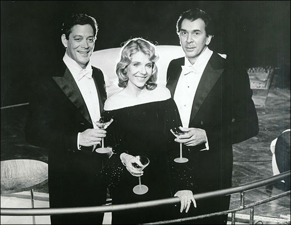 Raul Julia, Jill Clayburgh and Frank Langella in the 1984 Broadway production Design For Living.