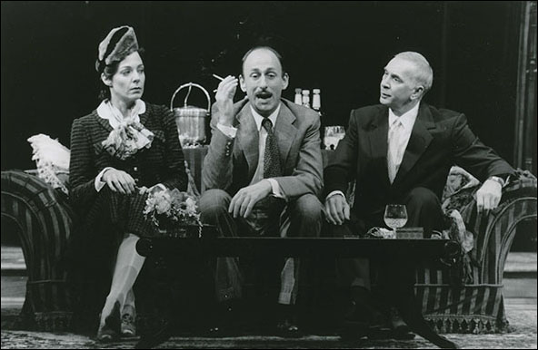 Allison Janney, David Cale and Frank Langella in the 1996 Broadway production Present Laughter.