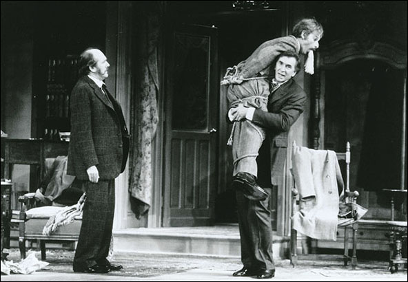 Pat McNamara, Donal Donnelly and Frank Langella in the 1987 Broadway production Sherlock's Last Case.