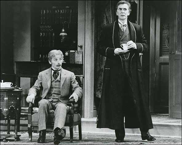 Donal Donnelly and Frank Langella in the 1987 Broadway production Sherlock's Last Case.