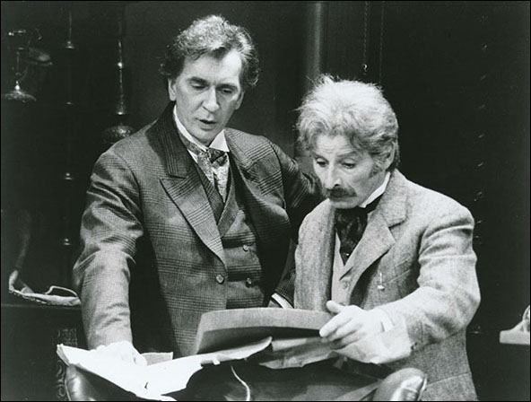 Frank Langella and Donal Donnelly in the 1987 Broadway production Sherlock's Last Case.