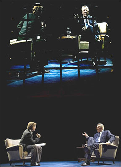 Michael Sheen and Frank Langella in the 2007 Broadway production Frost/Nixon.
