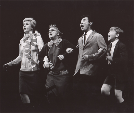 Angela Lansbury, Jane Connell, Sab Shimono and Frankie Michaels in Mame, 1966