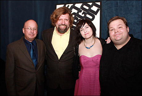 The Public Theater executive director Andrew D. Hamingson, artistic director Oskar Eustis, Jean-Michele Gregory and Mike Daisey