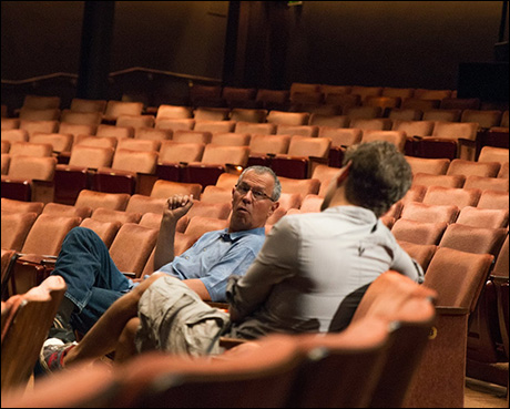 Our wonderful Stage Manager, Peter chatting w/ Cast member, Eric before Fight call begins.