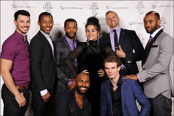 Sonya Tayeh (center) with cast members (from left) Steve Schepis, Brandon Gill, Wallace Smith, Nik Walker, Jay Armstrong Johnson, Adam Perry and James Brown III