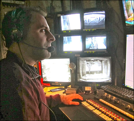 """Josh Halperin's stage manager console looks comparable to the Russian space station in the movie """"Gravity."""" At least Sandra Bullock had the owner's manual... Good luck, Josh!! We have faith in you to run this ship!"""