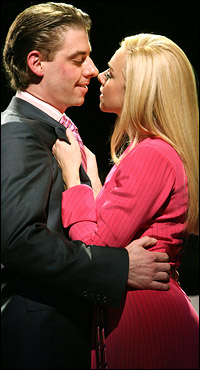 Christian Borle and Laura Bell Bundy in Broadway's <i>Legally Blonde</i>.