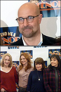 <I>Lend Me a Tenor</I> director Stanley Tucci (top) and (L-R) cast members Jan Maxwell, Jennifer Laura Thompson, Mary Catherine Garrison and Brooke Adams.