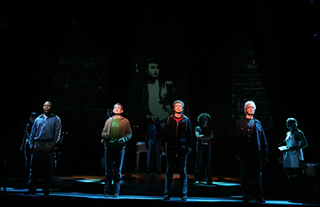 Michael Potts, Chad Kimball, Will Chase and Terrence Mann in Lennon on Broadway