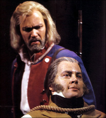 J. Mark McVey as Valjean and Shuler Hensley as Javert on Broadway
