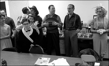 The cast gathers before our first preview audience to get a pep talk from our director Scott Schwartz. Excitement, nerves and anticipation run through everyone. All at different paces.