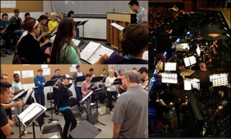 """Upper left and Right: Music Director Ian Eisendrath works the amazing Ensemble and Orchestra. Bottom Left: Book writer Rupert Holmes (in the grey shirt to the right) listens to music rehearsal for the uplifting number """"Fly Into A Better Tomorrow."""""""